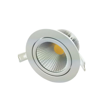 12W LED Dimmable downlight tiltable, Aluminium Alloy construction, Brideglux Chip, LED Type COB